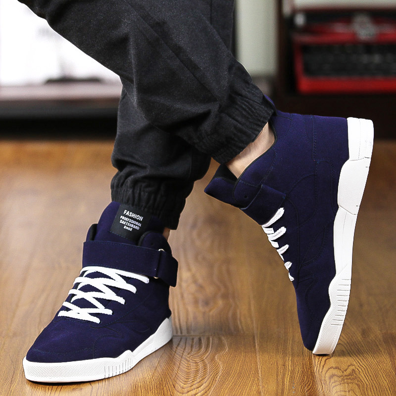 547c04aca99e0 2017 New Fashion High Top Casual Shoes For Men PU Leather Lace Up Red White  Black ...